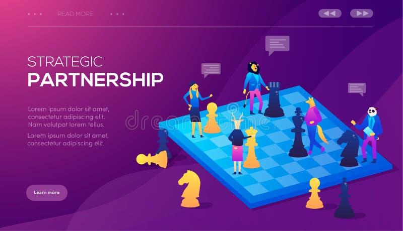 Иллюстрация вектора шахмат концепции дела Концепция партнерства, согласование партий, подписывая документов бесплатная иллюстрация