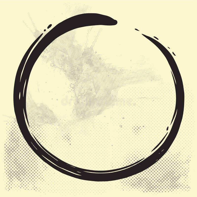 Иллюстрация вектора щетки круга Дзэн Enso на старой бумаге бесплатная иллюстрация