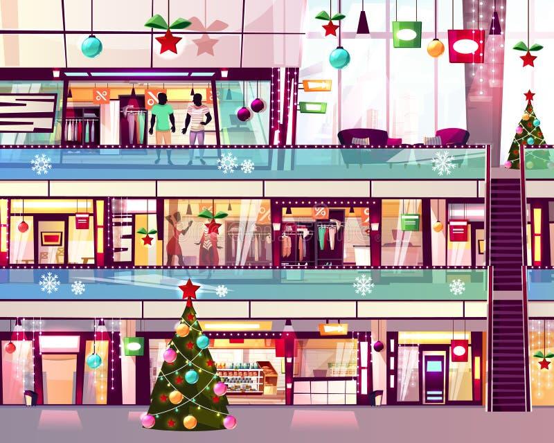 Иллюстрация вектора эскалатора магазинов мола рождества иллюстрация штока