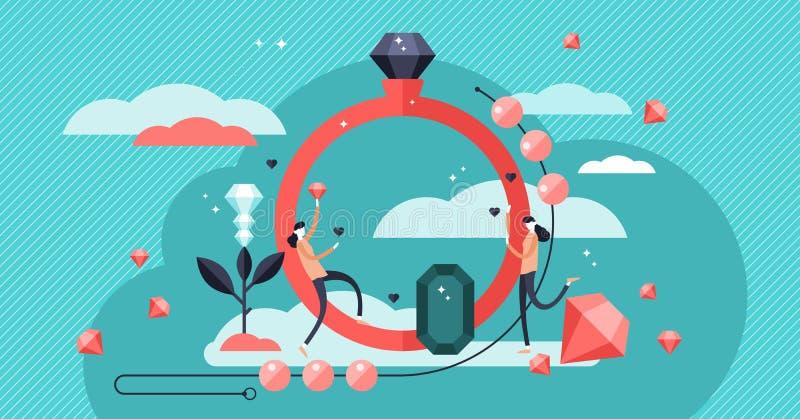 Иллюстрация вектора ювелирных изделий Дорогие каменные кольца и индустрия ожерелья иллюстрация штока