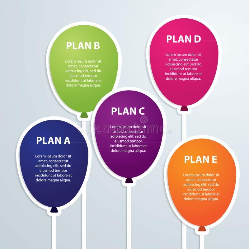 Иллюстрация вектора ярлыка временной последовательности по infographics воздушных шаров иллюстрация штока