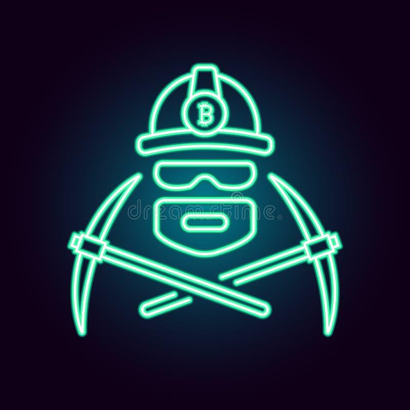 Иллюстрация вектора Bitcoin минируя в неоновом стиле Плоский простой линейный значок cryptocurrency работника минируя с иллюстрация штока
