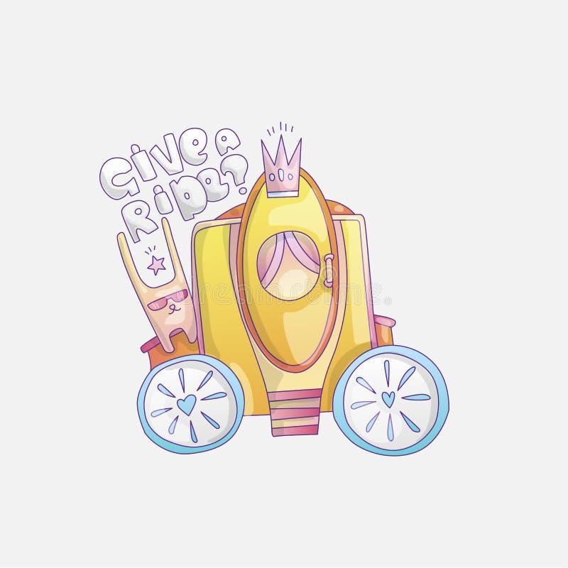 Иллюстрация вектора brougham милого мультфильма крутая с кроликом и дать литерность езды Brougham принцессы золота, волшебство иллюстрация вектора