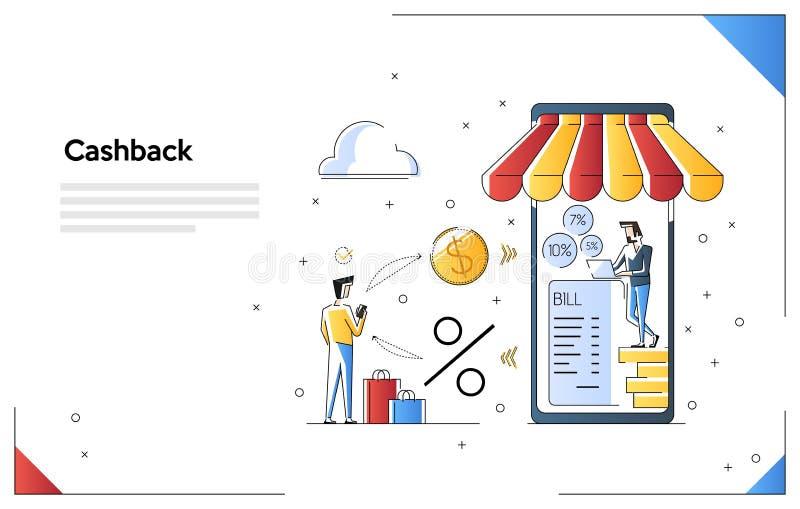 Иллюстрация вектора Cashback ходя по магазинам, вознаграждение наличных денег денег назад для приобретения от применения смартфон иллюстрация вектора