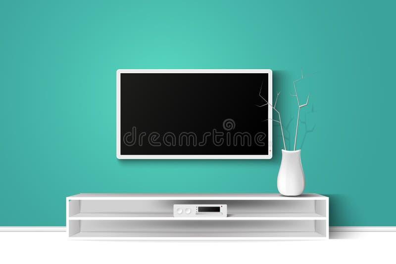 Иллюстрация вектора 3d стойки ТВ СИД на деревянном столе Дизайн интерьера живущей комнаты дома современный скопируйте шаблон косм иллюстрация вектора