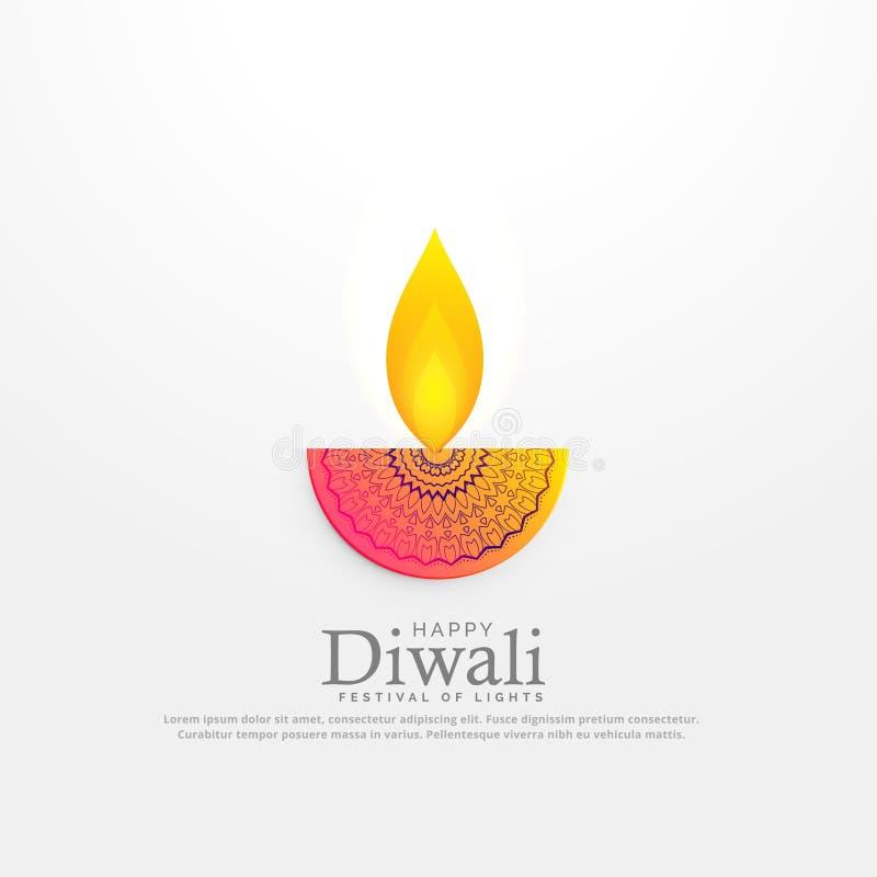 Иллюстрация вектора diya фестиваля Diwali в флористическом deocration иллюстрация штока