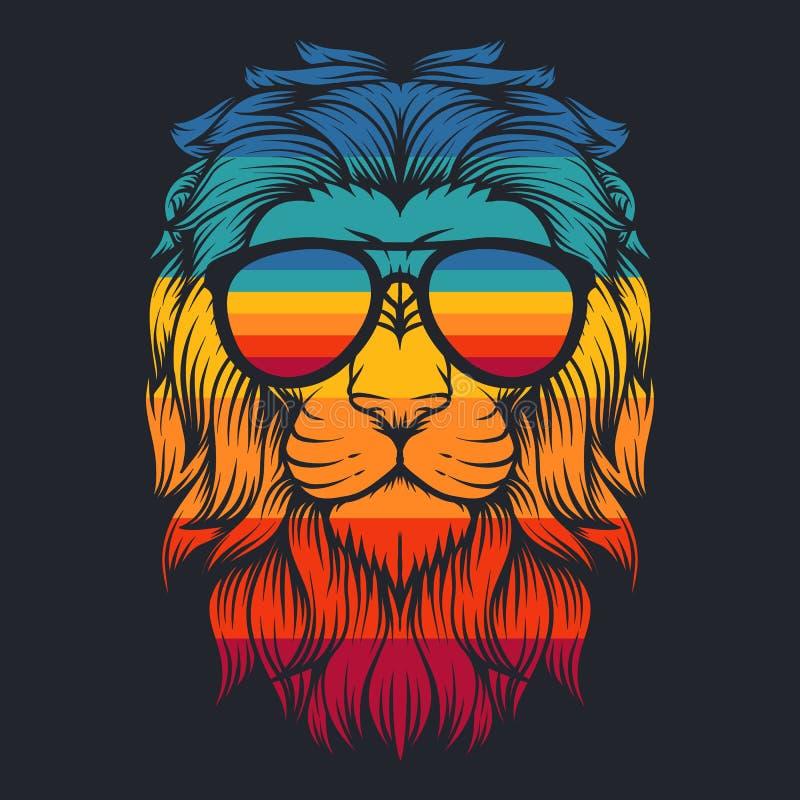 Иллюстрация вектора eyeglasses льва крутая ретро стоковые фото