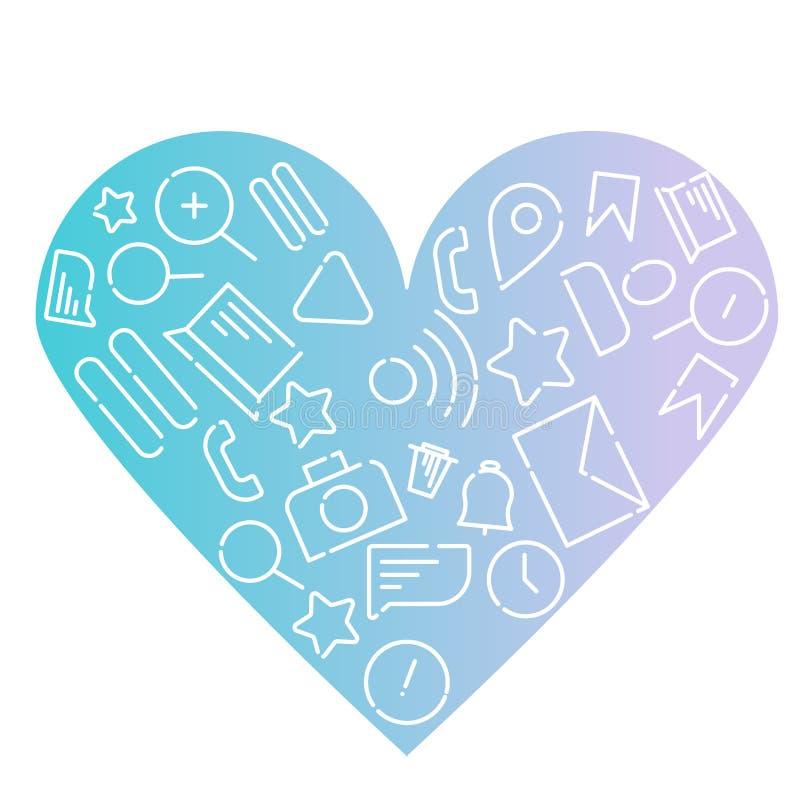 Иллюстрация вектора Minimalistic значков на теме интернета, применениях, деле в форме сердца Голубой градиент иллюстрация штока