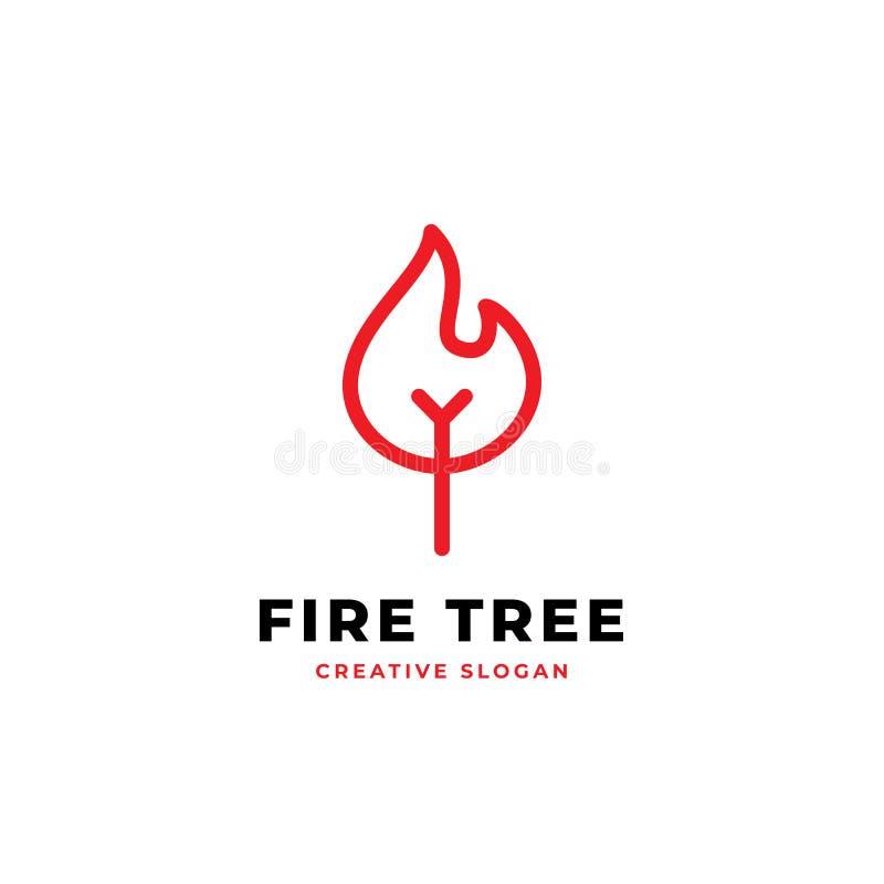 Иллюстрация вектора monoline дизайна логотипа дерева огня простая бесплатная иллюстрация