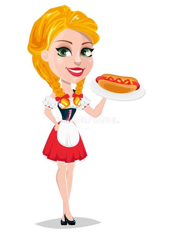 Иллюстрация вектора Oktoberfest при сексуальная девушка redhead держа хот-дога бесплатная иллюстрация