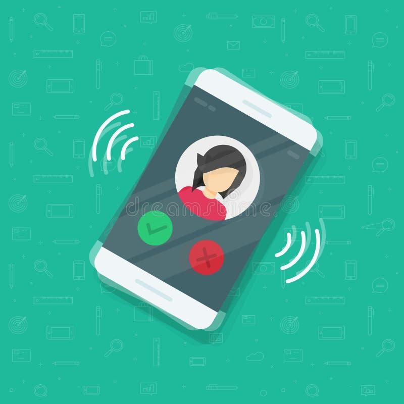 Иллюстрация вектора Smartphone или мобильного телефона звеня, плоский звонок мобильного телефона дизайна шаржа или вибрирует с ин иллюстрация штока