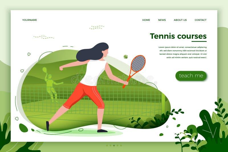 Иллюстрация вектора - sporty девушка играя теннис иллюстрация вектора