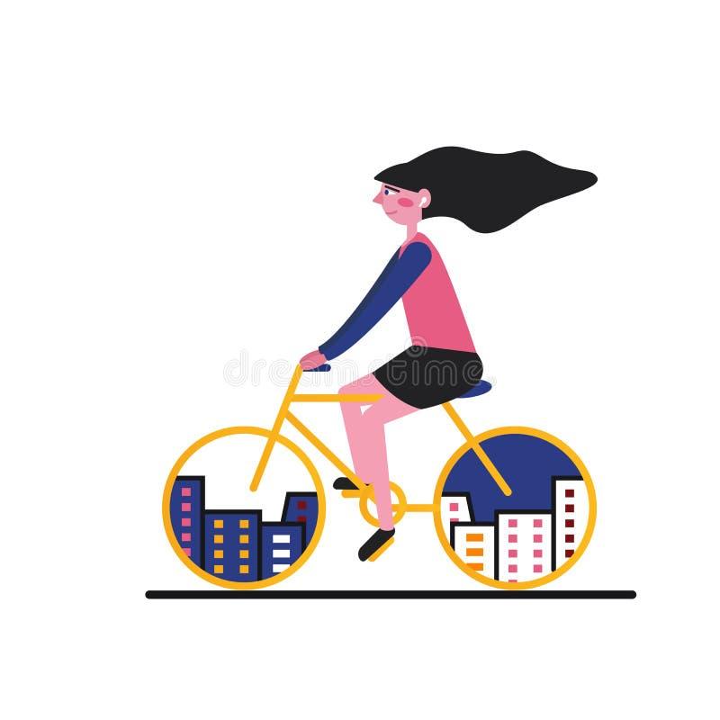 Иллюстрация велосипеда города девушка Плоский стиль иллюстрация вектора