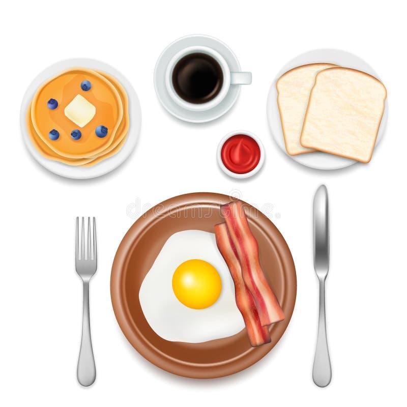 Иллюстрация взгляд сверху вектора еды завтрака бесплатная иллюстрация