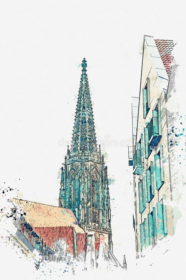 иллюстрация Взгляд церков Lamberti и старых домов в Muenster в Германии бесплатная иллюстрация
