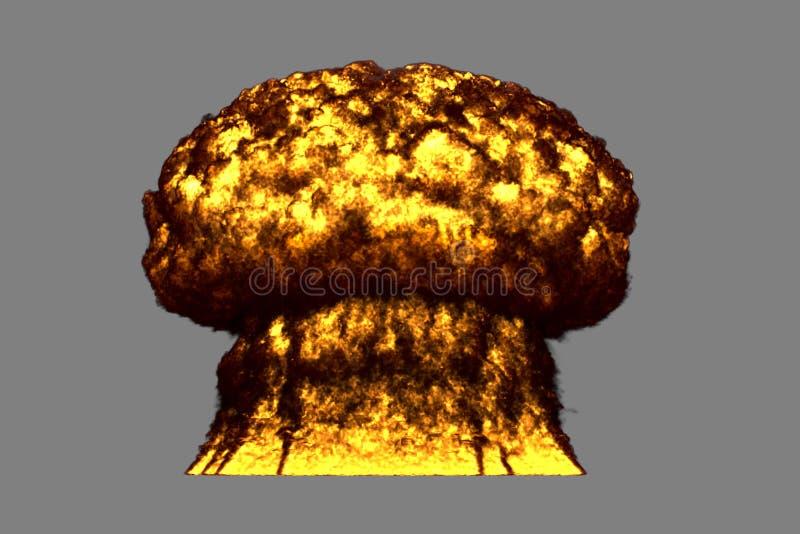 Иллюстрация взрыва 3D большого сильно детального взрыва ядерного гриба с огнем и дымом выглядит как от ядерной бомбы или сколько  иллюстрация вектора