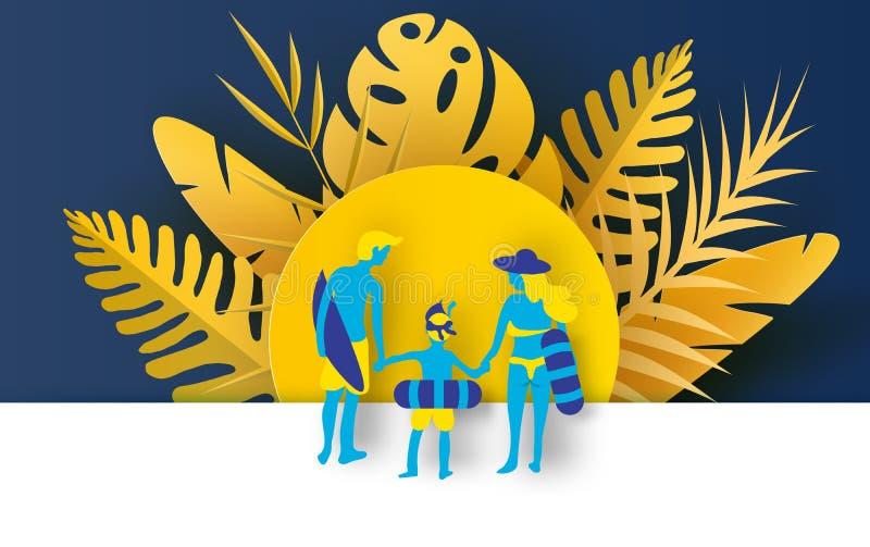 Иллюстрация вида сзади с потехой семьи счастливой на пляже Люди ныряя в заплыве резинового кольца Тропическая пастель цвета лета иллюстрация штока