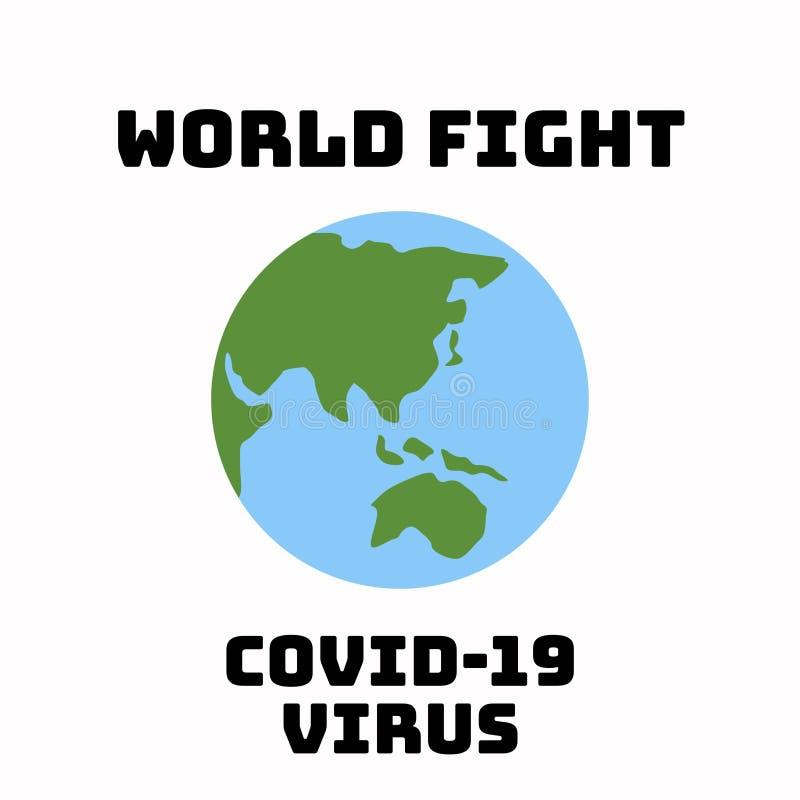 Иллюстрация вируса covid-19 в мире на белом фоне стоковая фотография rf
