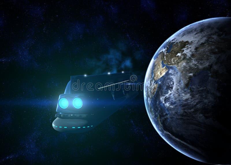 Иллюстрация вкладыша пассажира 3d космического корабля стоковое изображение rf