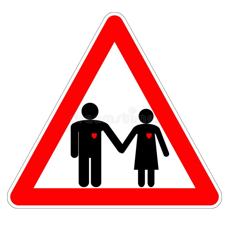 Иллюстрация внимание знака «, любовник! » на дне Валентайн, диаграммах человека и женщине держа руки с красными сердцами бесплатная иллюстрация