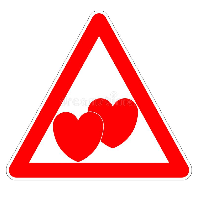 Иллюстрация внимание знака «, любовник! » на сердцах дня Валентайн 2 красных иллюстрация штока