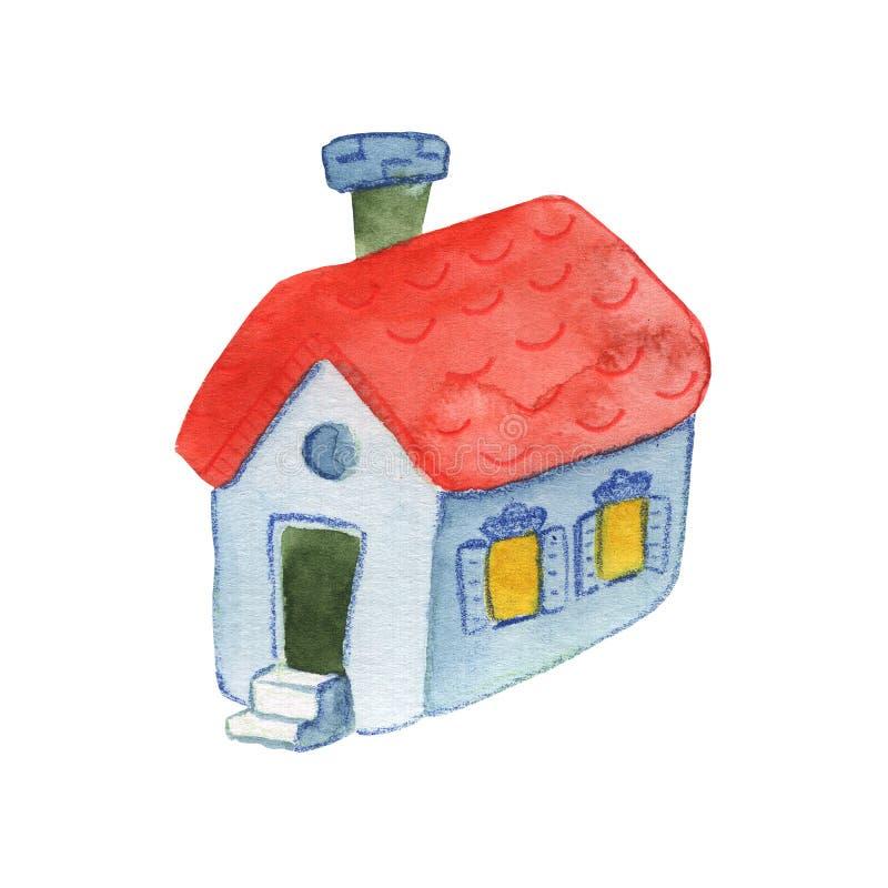 Иллюстрация водяного цвета уютного дома на белом фоне Символ ручного рисунка милого деревенского дома Логотип дома Countryside бесплатная иллюстрация