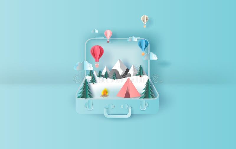 Иллюстрация воздушных шаров плавая концепция чемодана зимы похода шатра праздника перемещения График на сезон зимы снежностей иллюстрация вектора