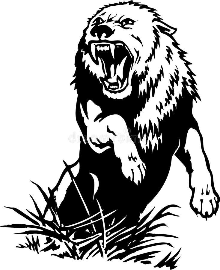 Иллюстрация волка атакуя иллюстрация вектора