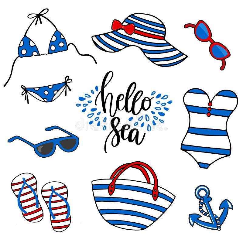 Иллюстрация времени пляжа Купальник, eyeglasses, анкер, шлоп-шлоп, сумка tote и шляпа пляжа на белой предпосылке иллюстрация штока