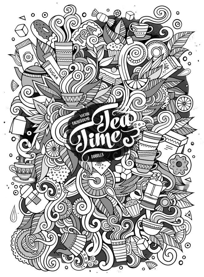 Иллюстрация времени чая doodles шаржа милая иллюстрация вектора