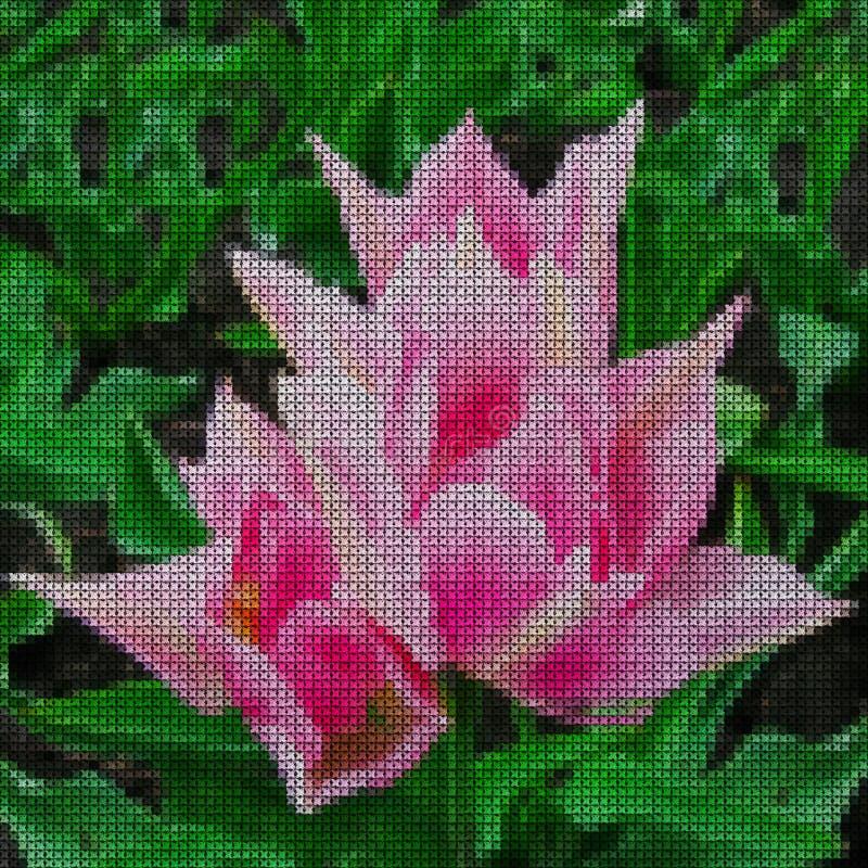 иллюстрация Вышивка крестиком белизна тюльпана изоляции цветка бесплатная иллюстрация