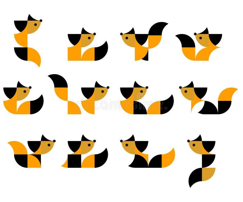 Иллюстрация геометрических котов в дуплексе иллюстрация вектора