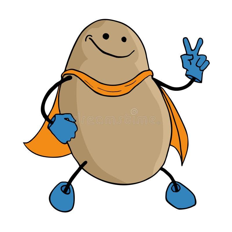 Иллюстрация героя картошки иллюстрация вектора