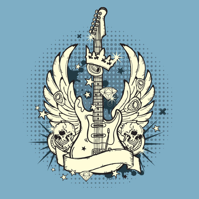 иллюстрация гитары grunge иллюстрация штока