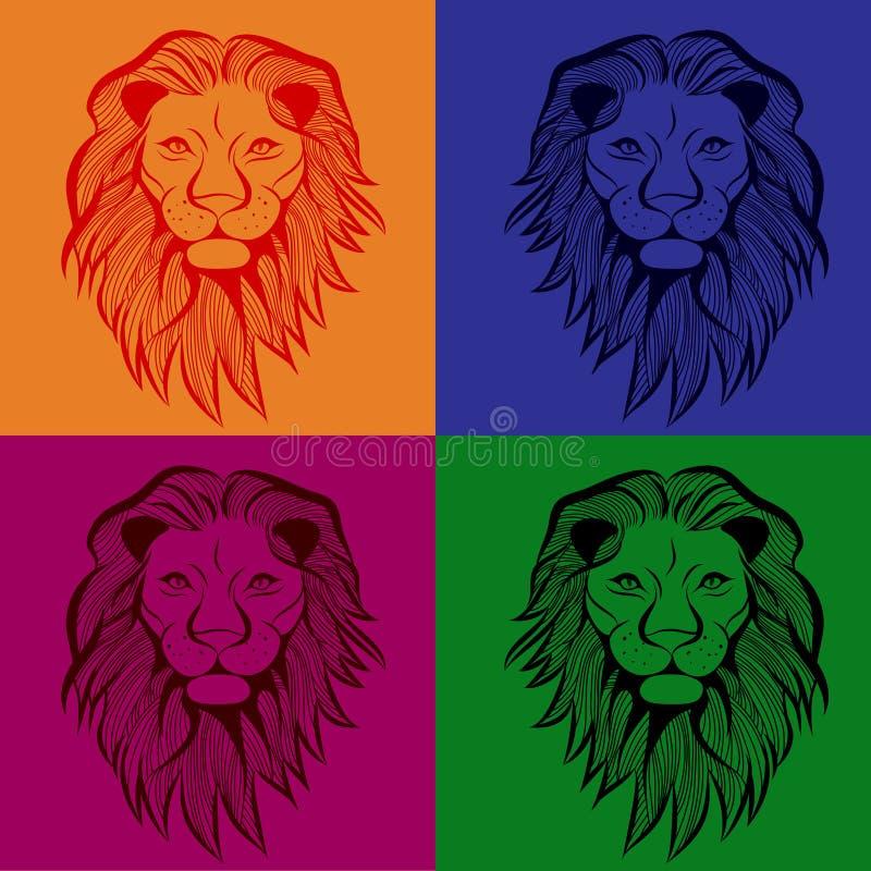 Иллюстрация головного вектора льва животная для футболки Дизайн татуировки эскиза безшовный иллюстрация вектора