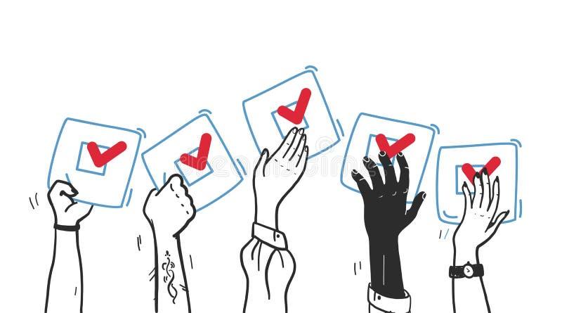 Иллюстрация голосования вектора с руками вверх с голосуя бюллетенем изолированным на белой предпосылке бесплатная иллюстрация