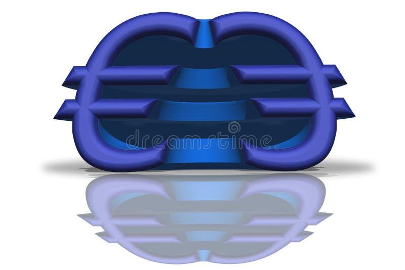 Иллюстрация голубого отраженного евро подписывает в переводе 3D иллюстрация вектора
