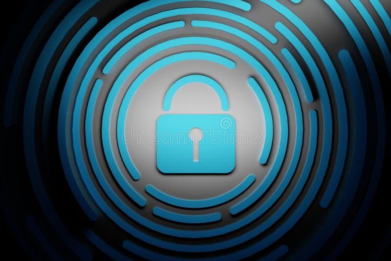 Иллюстрация голубого padlock с голубыми кругами на черной предпосылке