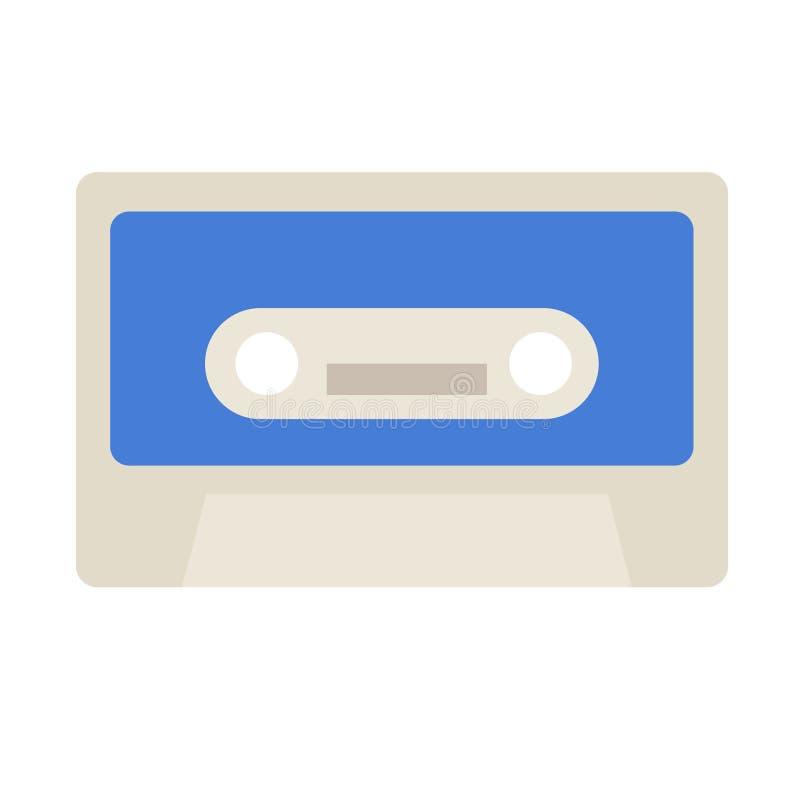 Иллюстрация голубой кассеты плоская иллюстрация вектора