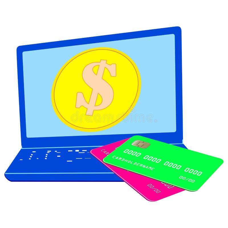 Иллюстрация голубой предпосылки, доллара и концепци-ноутбука bitcoin и возвращения цифровых денег бесплатная иллюстрация