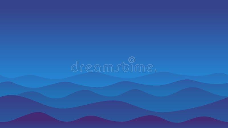 Иллюстрация голубой пустыни волны иллюстрация штока