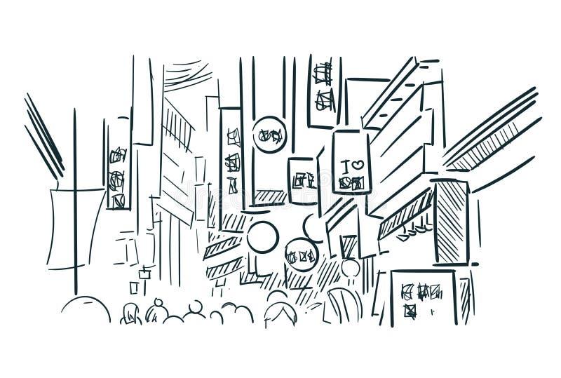 Иллюстрация города вектора эскиза улицы Азии Seul бесплатная иллюстрация