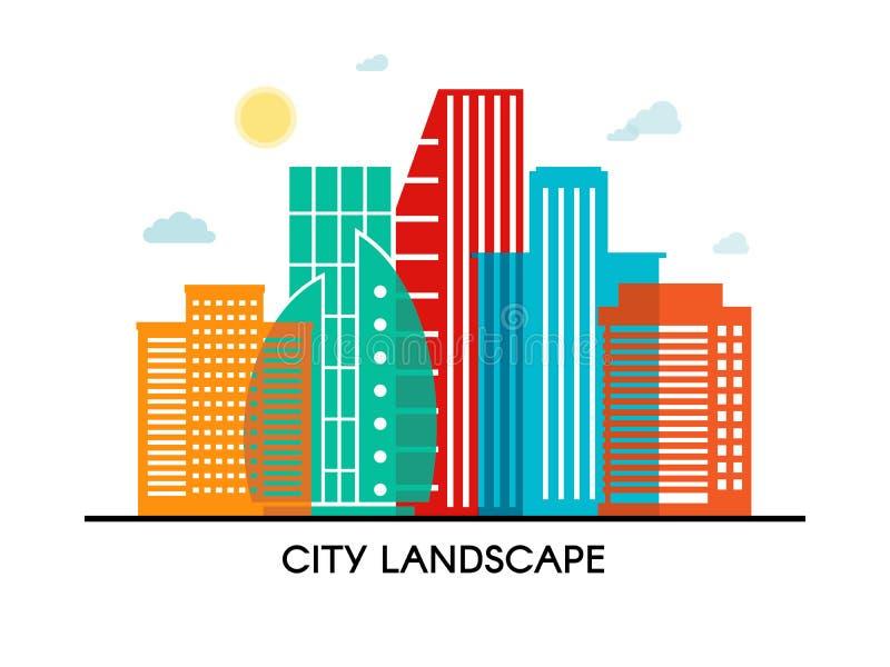 Иллюстрация города здания абстрактного красочного whith плаката вектора прозрачная на белой предпосылке Вектор EPS 10 бесплатная иллюстрация