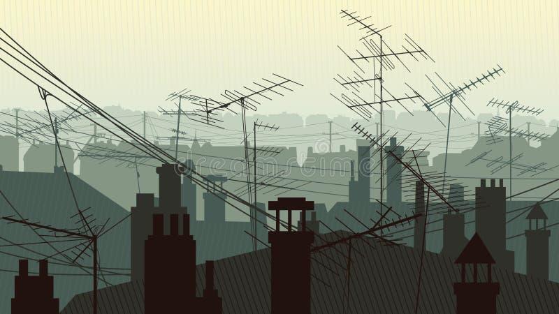 Иллюстрация городских крыш с антеннами и печной трубой иллюстрация штока