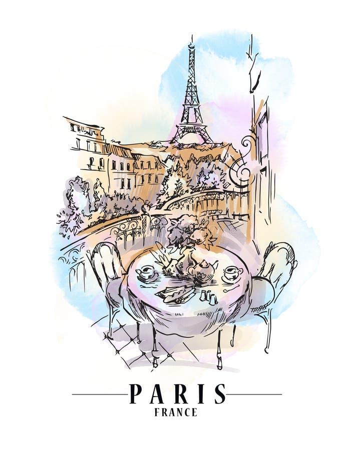 Иллюстрация городского пейзажа Парижа Художественное произведение нарисованное рукой Рисовать ориентиров бесплатная иллюстрация