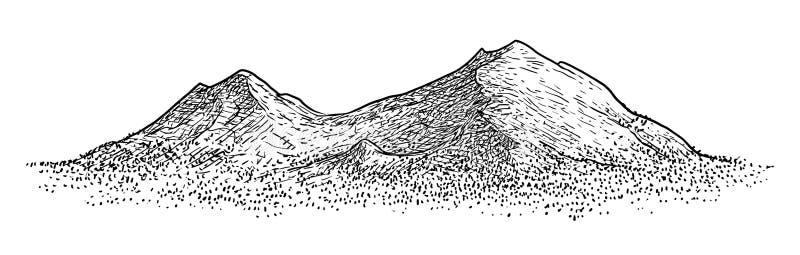 Иллюстрация горы, чертеж, гравировка, чернила, линия искусство, вектор иллюстрация вектора