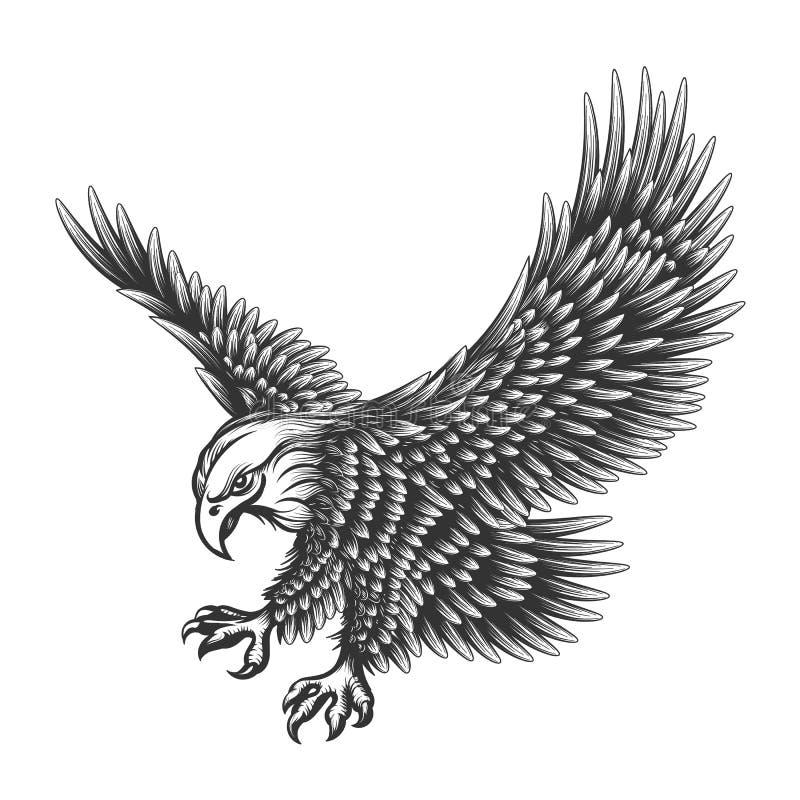 Иллюстрация гравировки орла иллюстрация штока