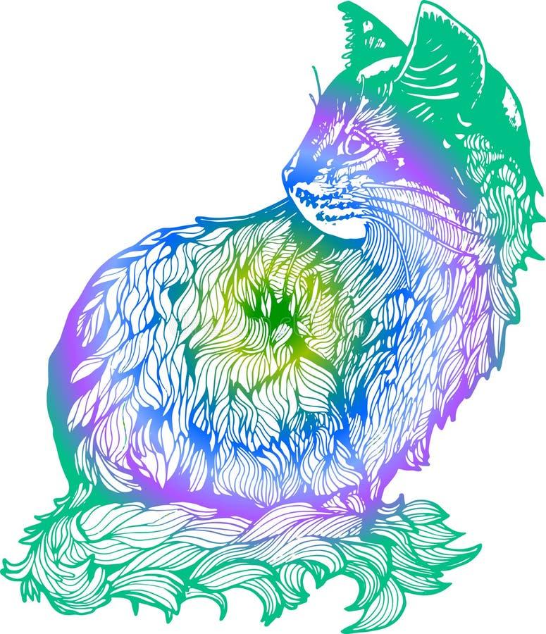 Иллюстрация градиента кота в профиле Черно-белый чертеж кота иллюстрация вектора