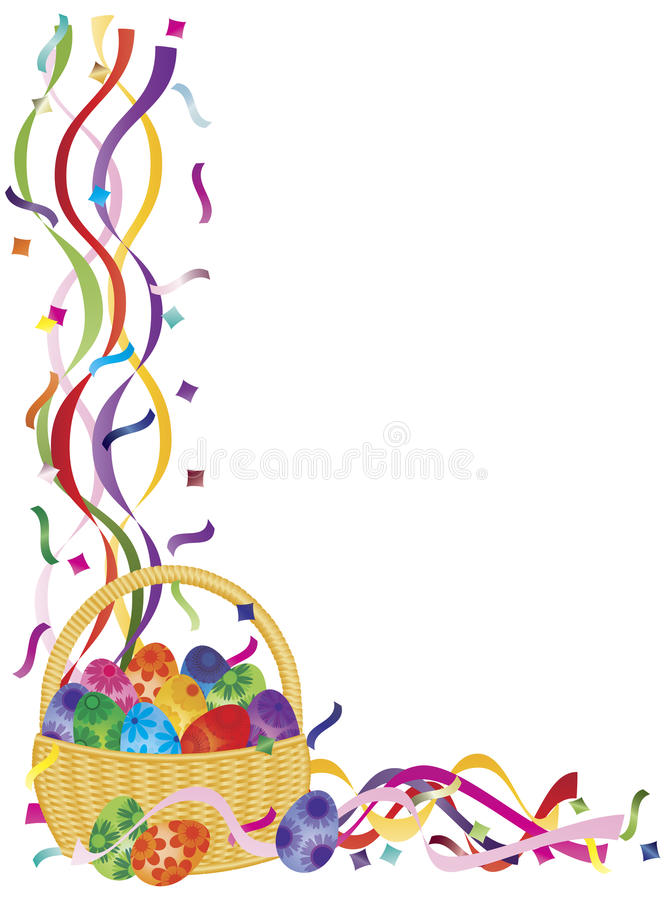 Иллюстрация границы Confetti корзины пасхальных яя иллюстрация вектора