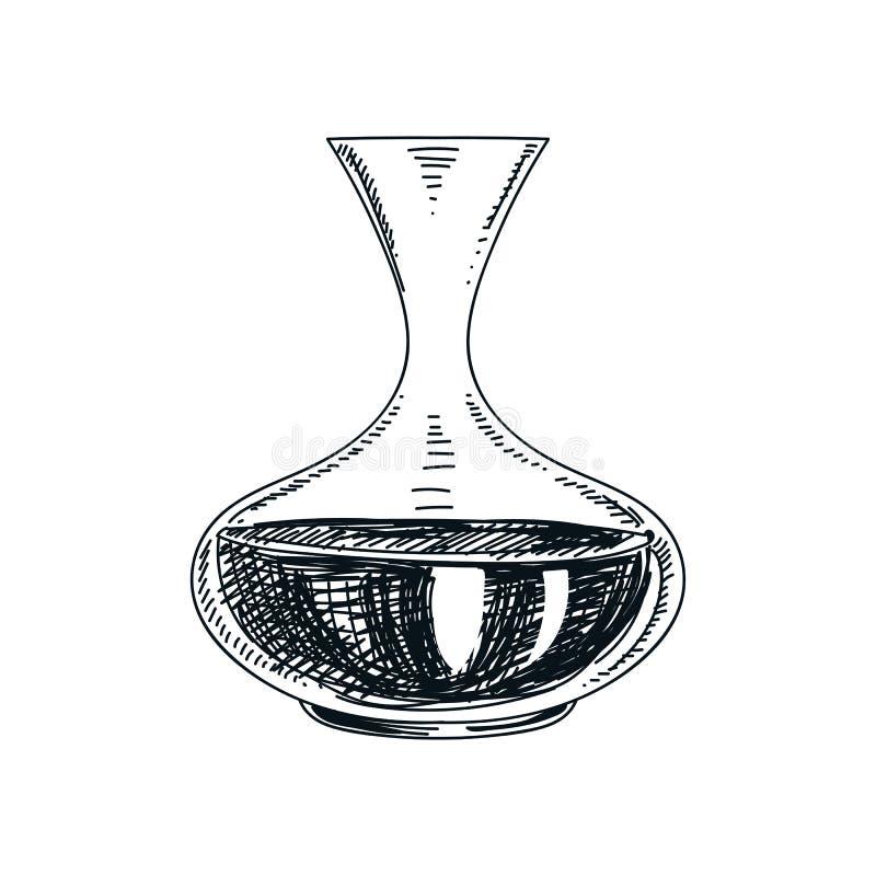 Иллюстрация графинчика вина вектора нарисованная рукой бесплатная иллюстрация